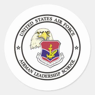 Escuela -1 de la dirección del aviador pegatina redonda