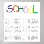 Escuela 2013 en calendario de pared de la arcilla posters