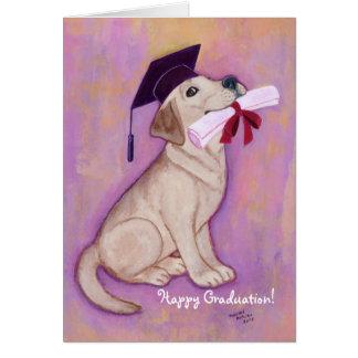 Escuela amarilla del perrito de la graduación de L Felicitaciones