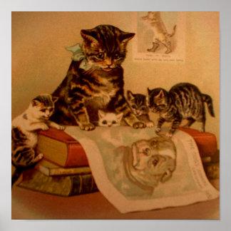 Escuela antigua del gatito de los gatitos y de los posters