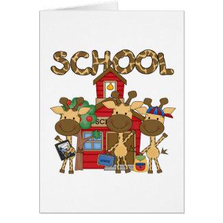 Escuela - camisetas y regalos de la jirafa tarjetas
