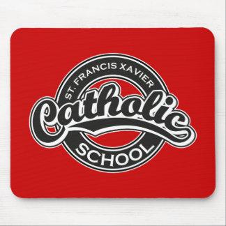 Escuela católica de St Francis Javier blanco y neg Alfombrilla De Raton