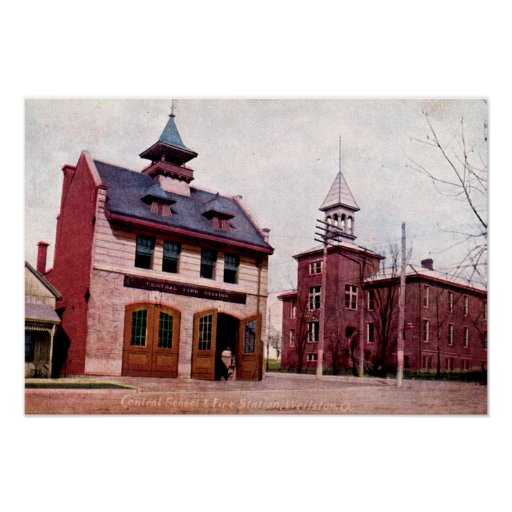 Escuela central de Wellston Ohio y parque de bombe Póster