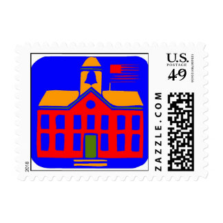 Escuela colorida sellos postales