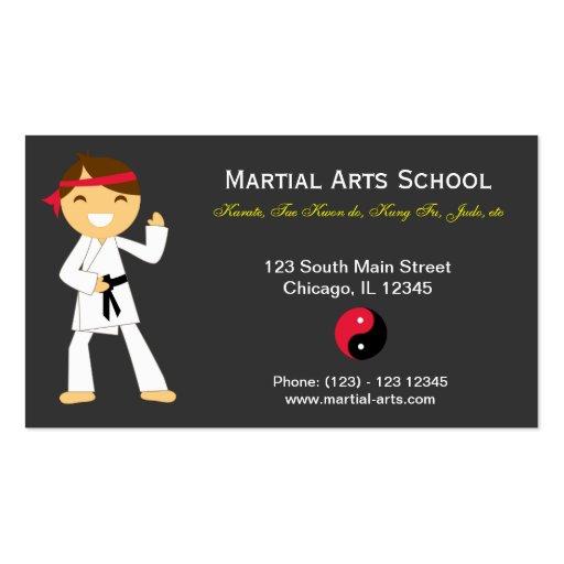 Escuela de artes marciales tarjetas de visita