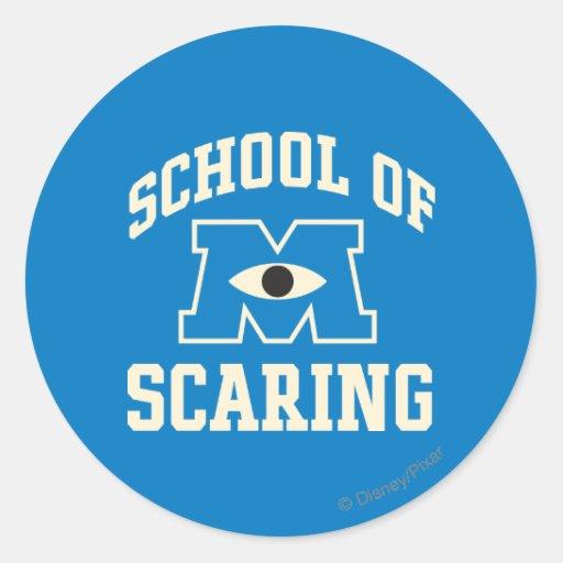 Escuela de asustar pegatina redonda
