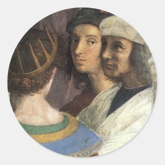 Escuela de Atenas (detalle) por Raphael o Pegatina Redonda