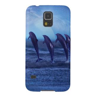 Escuela de delfínes por claro de luna funda de galaxy s5