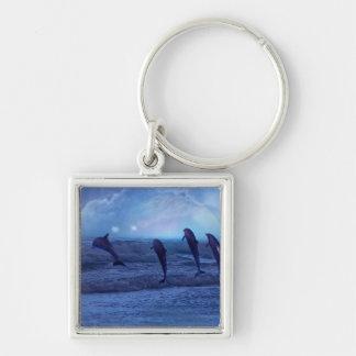 Escuela de delfínes por claro de luna llavero cuadrado plateado
