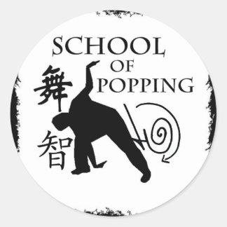 Escuela de hacer estallar pegatina redonda