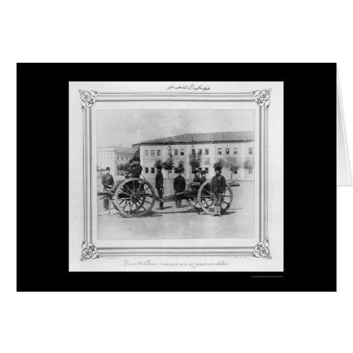 Escuela de la artillería en Estambul, Turquía 1885 Tarjeta De Felicitación