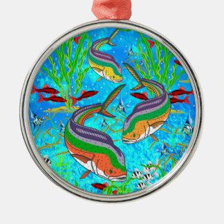 Escuela de la natación de los pescados - ornamento ornato
