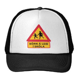 Escuela de la precaución, señal de tráfico, gorro de camionero