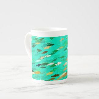 Escuela de los pescados, aguamarina, verde, oro