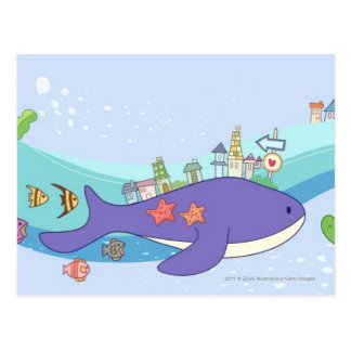 Escuela de los pescados que nadan en ciudad postales
