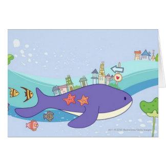 Escuela de los pescados que nadan en ciudad tarjeta de felicitación