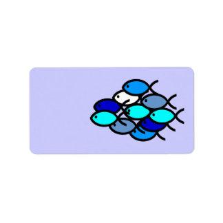 Escuela de los símbolos cristianos de los pescados etiquetas de dirección