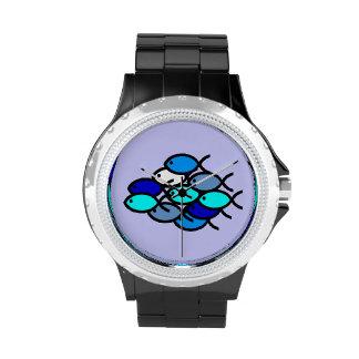 Escuela de los símbolos cristianos de los pescados relojes de pulsera