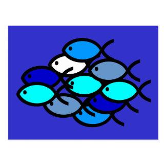 Escuela de los símbolos cristianos de los pescados tarjeta postal