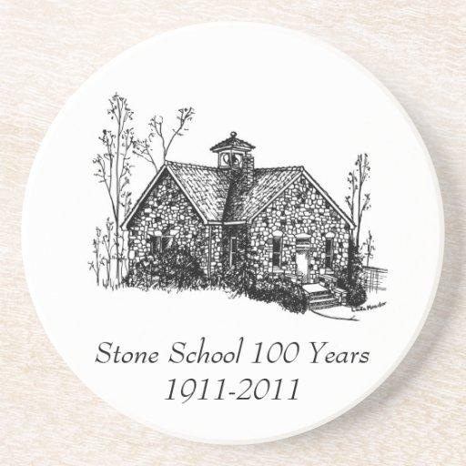Escuela de piedra 100 años de práctico de costa posavasos personalizados