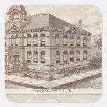 Escuela de Porterville, tienda Pegatina Cuadrada