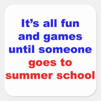 Escuela de verano calcomanias cuadradas