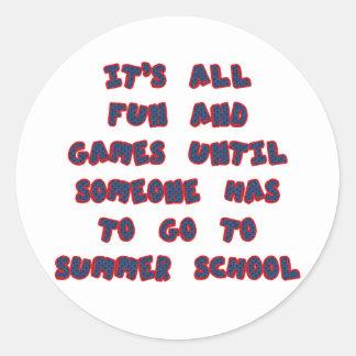 Escuela de verano pegatina redonda