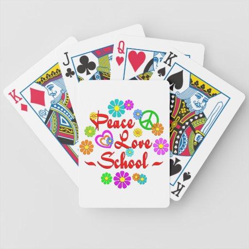 Escuela del amor de la paz baraja de cartas