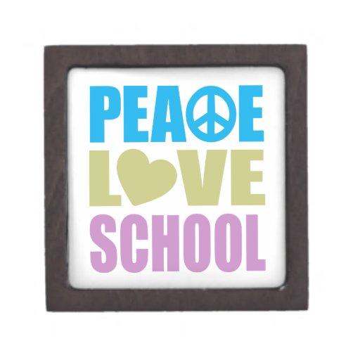 Escuela del amor de la paz cajas de recuerdo de calidad