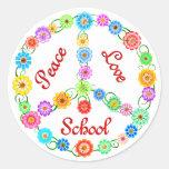 Escuela del amor de la paz etiqueta redonda