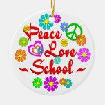 Escuela del amor de la paz ornamentos de navidad