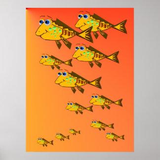 Escuela del poster amarillo de los pescados