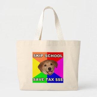 Escuela del salto del perro del consejo bolsas lienzo