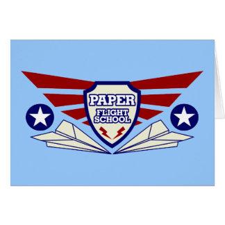 Escuela del vuelo del aeroplano de papel felicitación