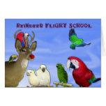 Escuela del vuelo del reno tarjeta de felicitación
