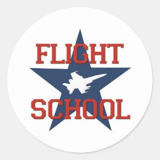Escuela del vuelo pegatina redonda