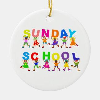 Escuela dominical adorno redondo de cerámica