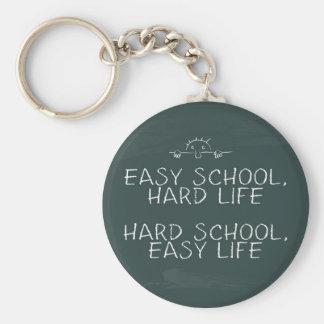 Escuela fácil, vida dura - escuela dura, vida fáci llavero redondo tipo pin