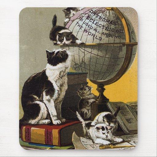 Escuela linda de los gatitos de los gatos del vint tapete de raton