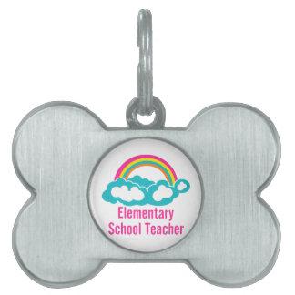 Escuela primaria del profesor placas de nombre de mascota