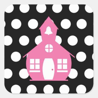 Escuela rosada + Profesor de los lunares Pegatina Cuadrada