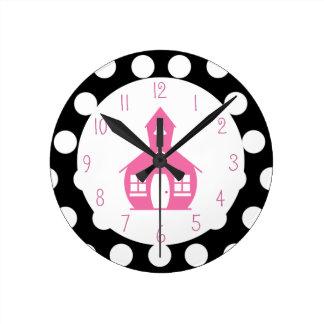 Escuela rosada + Profesor de los lunares Relojes De Pared