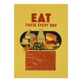 Escuela sana de la comida de los años 40 del póster