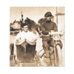 Escuela vieja de la motocicleta del vintage y del bloc de notas