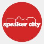 Escuela vieja de Speaker City Etiqueta Redonda