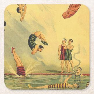 Escuela vieja del salto SUPERIOR Posavasos Desechable Cuadrado