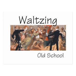 Escuela vieja que baila el vals SUPERIOR Tarjeta Postal