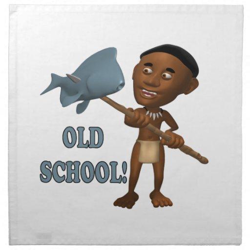 Escuela vieja que pesca 3 servilletas de papel