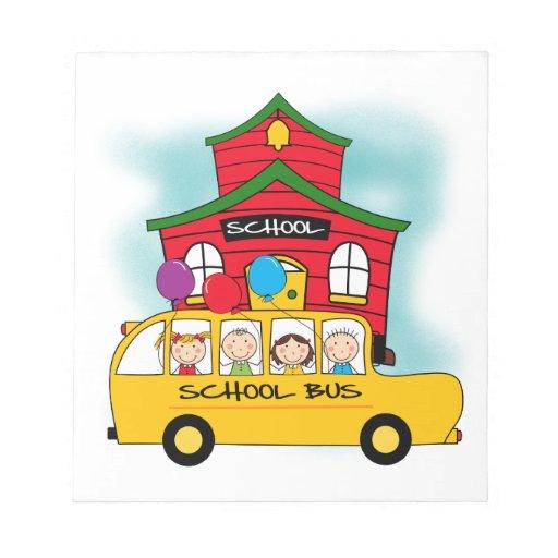 Escuela y camisetas y regalos del autobús escolar bloc de papel