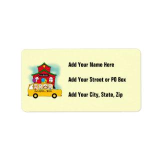Escuela y camisetas y regalos del autobús escolar etiquetas de dirección